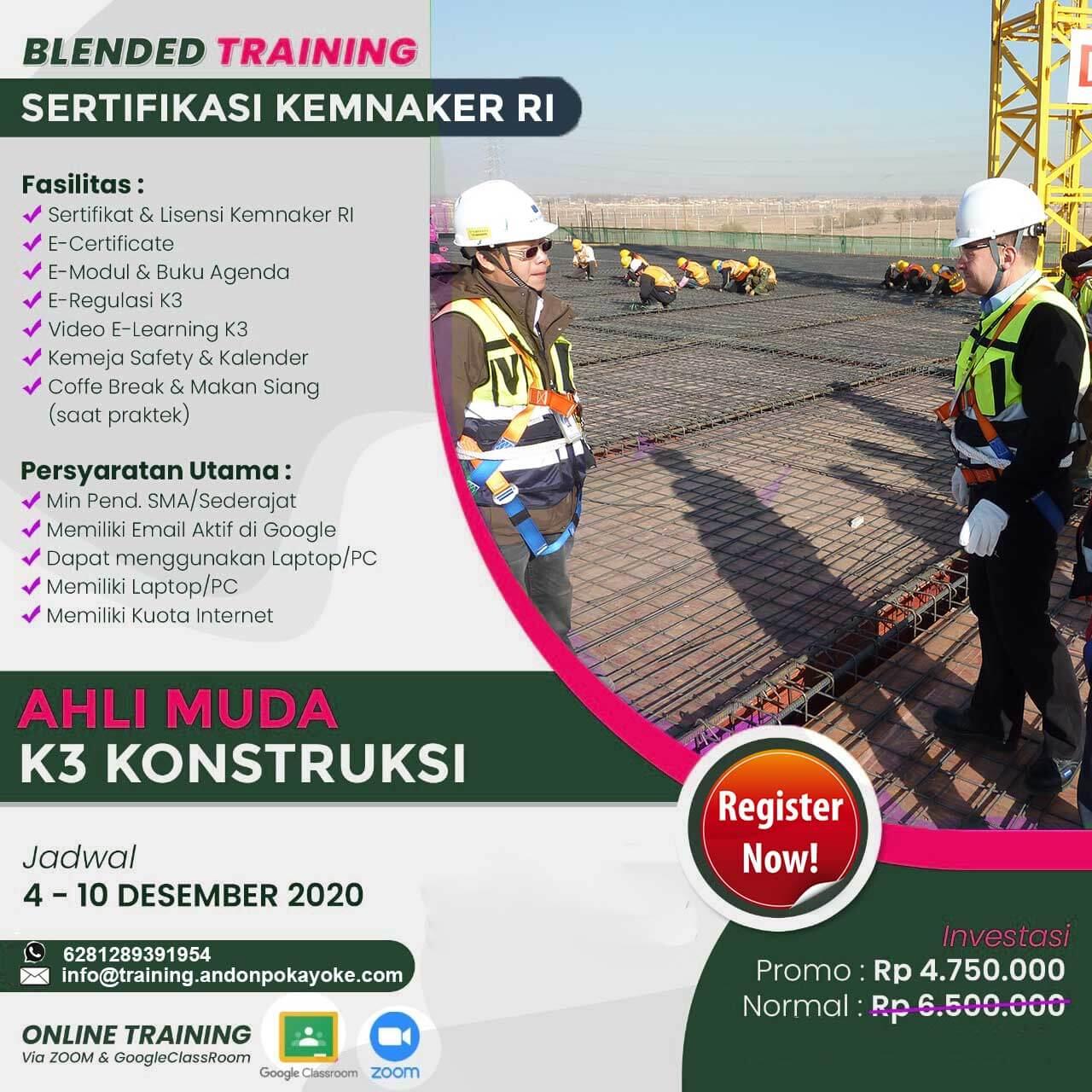 Blended Training Ahli Muda K3 Konstruksi Kemnaker