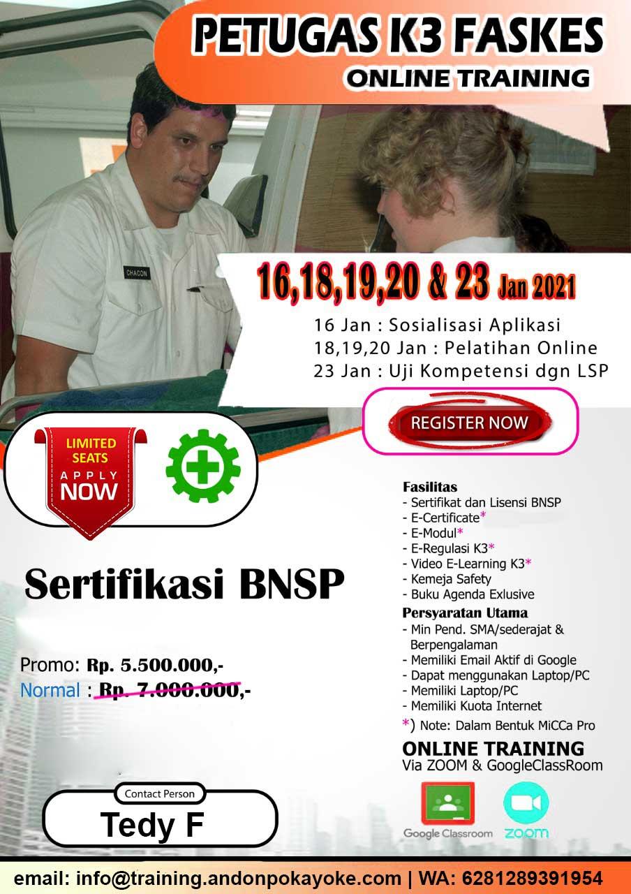 Online Training Petugas K3 Faskes BNSP