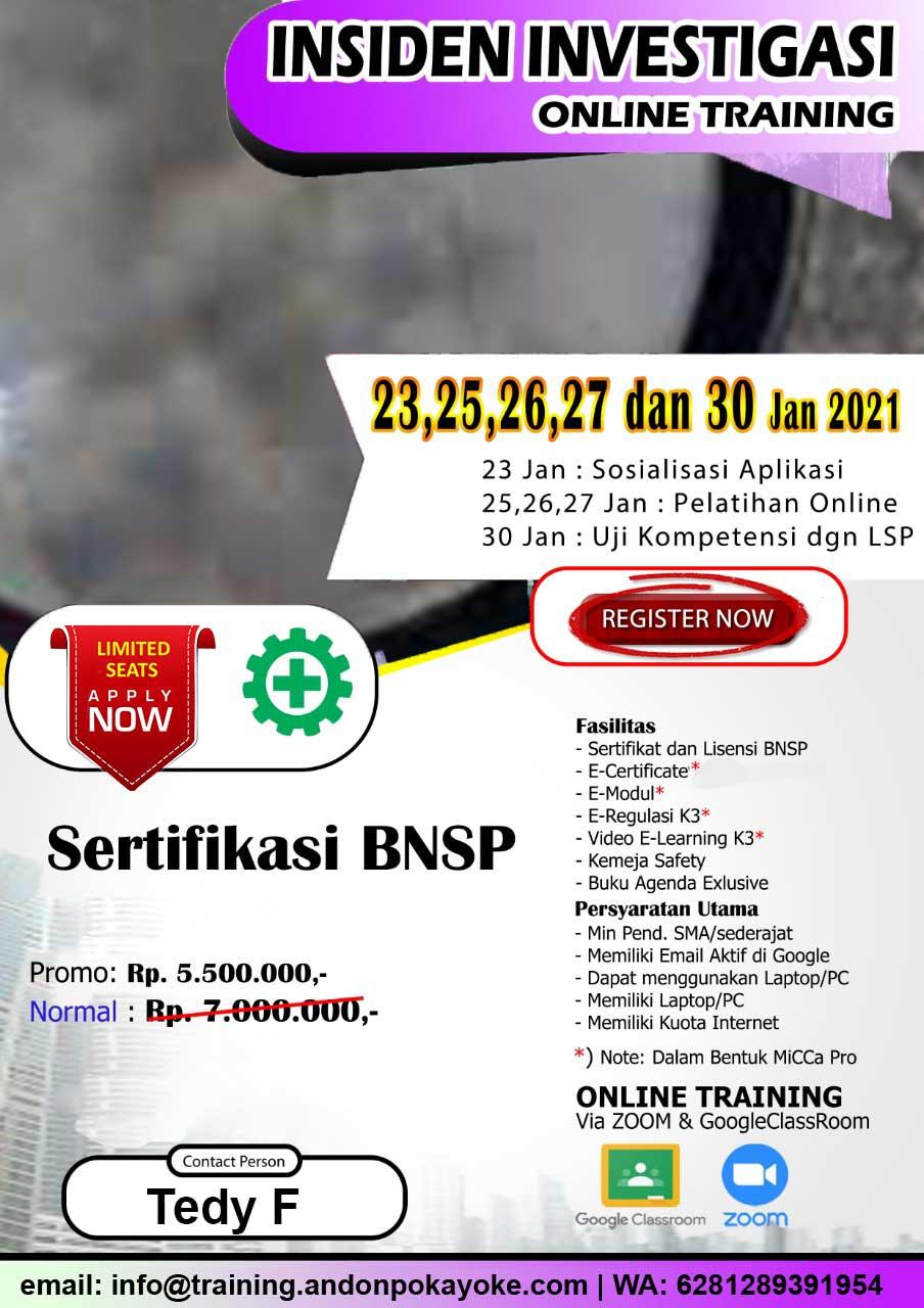 Online Training Insiden Investigasi Sertifikasi BNSP