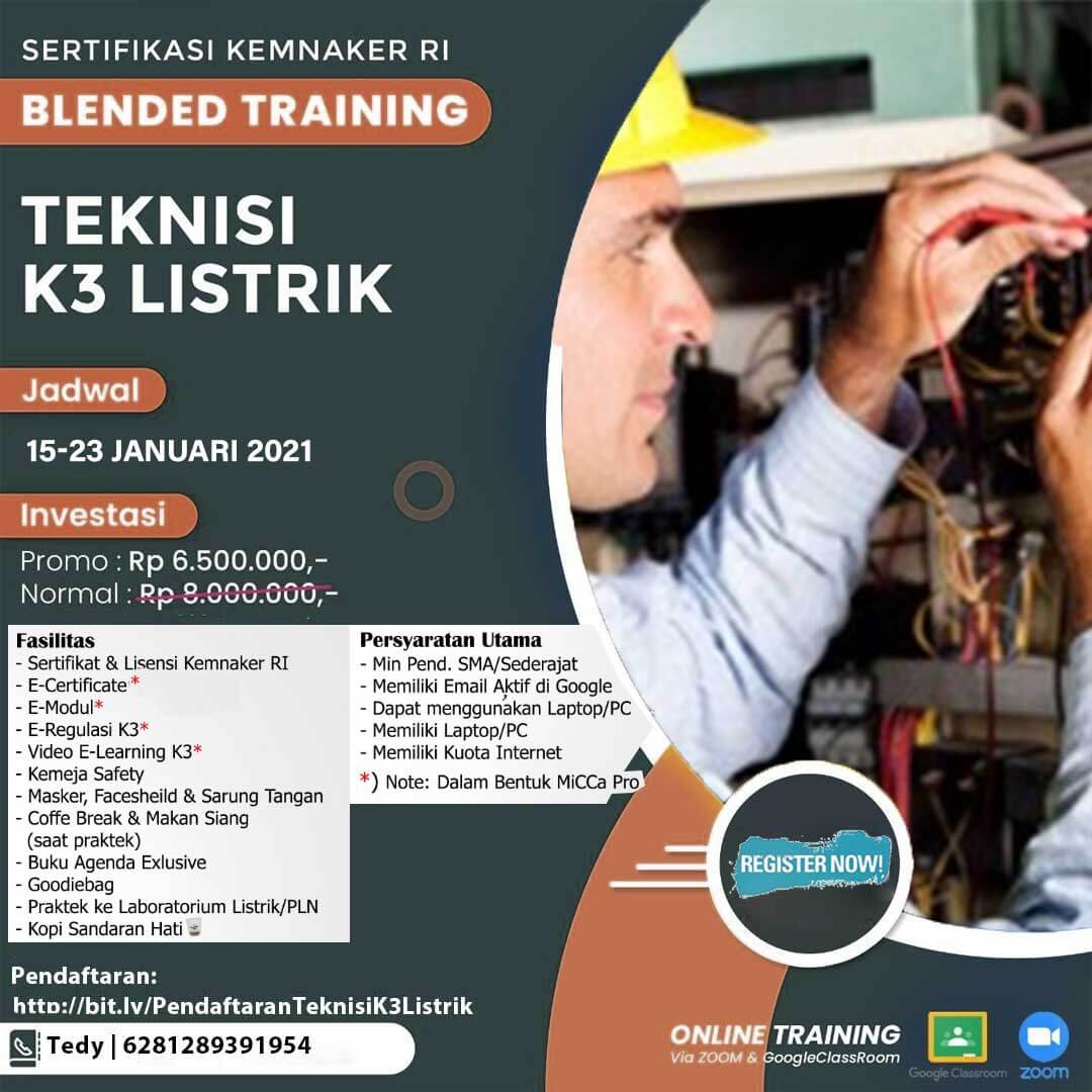 Training Teknisi K3 Listrik Kemnaker